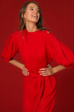 Random Belden Kuşaklı Kırmızı Elbise(124846369)