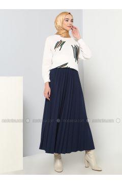 Navy Blue - Unlined - Cotton - Skirt - Benin(110327870)