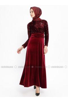 Maroon - Crew neck - Unlined - Dresses - Laruj(110335719)