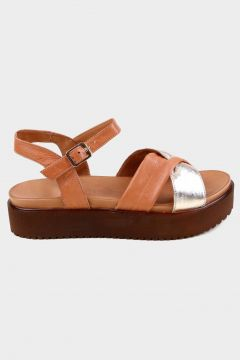 KAMMI Taba-gold Hakiki Deri Kadın Kalın Tabanlı Sandalet(118221768)
