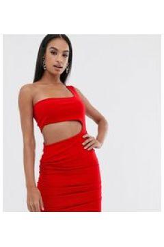 Fashionkilla - Vestitino da sera monospalla rosso con arricciatura e cut-out(123404872)