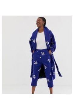 ASOS MADE IN KENYA - Locker geschnittene Hose aus Wollmischung mit aufgestickten Sternen - Mehrfarbig(86684032)
