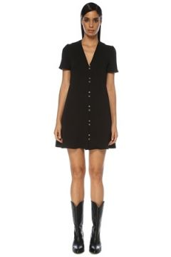 Academia Kadın Siyah V Yaka Kısa Kol Mini Krep Elbise 42(121108177)