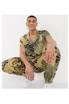 ASOS MADE IN KENYA - Camicia con stampa animalier, colletto a rever e tasca-Multicolore(120282048)