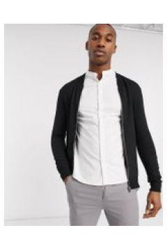 New Look - Bomber in jersey con zip nero(120240009)