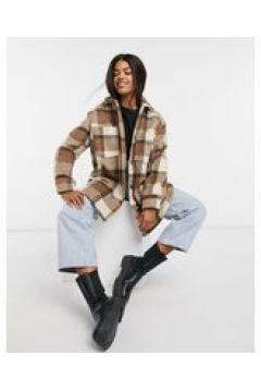 ASOS DESIGN - Camicia giacca taglio lungo marrone a quadri-Multicolore(123030795)