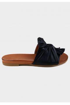 SHOELAB Siyah Hakiki Deri Kadın Comfort Terlik(118221862)