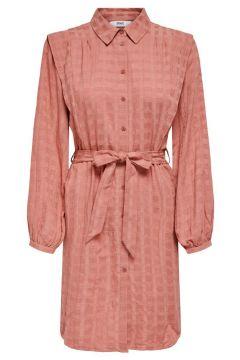 ONLY Detailreiches Kleid Mit Langen Ärmeln Damen Pink(125166882)
