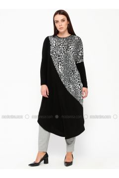Black - Silver tone - Leopard - Crew neck - Plus Size Tunic - Arıkan(110329967)