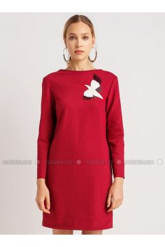 Maroon - Crew neck - Dresses - NG Style(110341243)