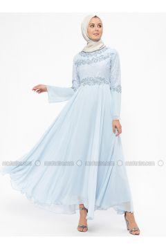 Blue - Fully Lined - Crew neck - Muslim Evening Dress - BÜRÜN(110314485)
