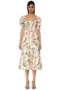 Faithfull The Brand Kadın De Christin Colorblocked Çiçekli Midi Keten Elbise Beyaz M EU(119229996)