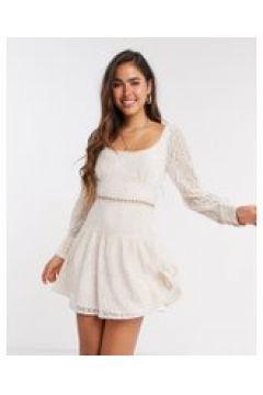 Fashion Union - Vestito corto in pizzo cipria-Crema(120301844)