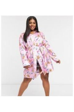 Outrageous Fortune Plus - Kimono da notte in raso rosa a fiori-Multicolore(124086502)