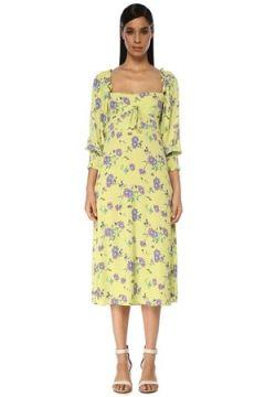 Faithfull The Brand Kadın Mathilde Yeşil Kalp Yaka Çiçekli Midi Elbise XS EU(119279961)