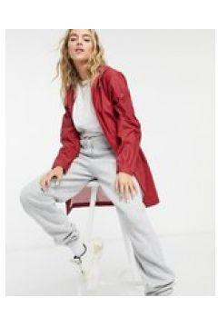 Rains - Giacca impermeabile rossa con cappuccio mezza lunghezza-Rosso(122685478)