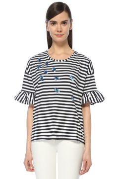 Beymen Club İşlemeli Çizgili Siyah T-Shirt(122798727)