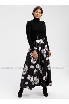 Black - Floral - Fully Lined - Skirt - DRESSLOVE(110339011)