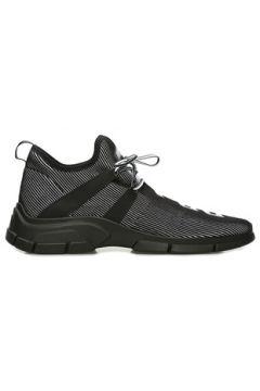 Prada Sport Erkek Siyah Beyaz Çizgi Dokulu Logolu Sneaker 0 UK(109148704)