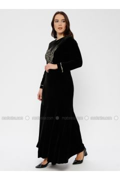 Black - Unlined - Crew neck - Muslim Plus Size Evening Dress - Le Mirage(110337492)