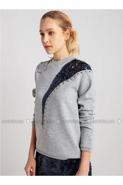 Crew neck - Gray - Sweat-shirt - NG Style(110341160)