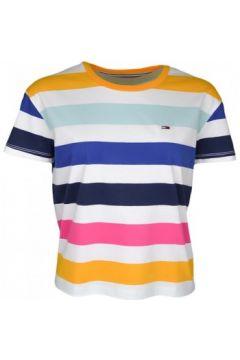T-shirt Tommy Jeans T-shirt col rond à rayures multicolore pour femme(115524823)