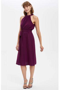 DeFacto Kadın Boyun Detaylı Kuşaklı Midi Elbise(125931232)