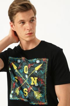 Only & Sons Renkli Baskılı Siyah T-Shirt(123422104)