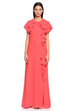 Lanvin-Lanvin Fırfırlı Pembe Uzun Gece Elbisesi(115706169)