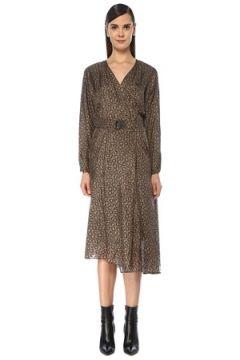 Brunello Cucinelli Kadın Kahverengi V Yaka Asimetrik Midi İpek Elbise M EU(119136974)