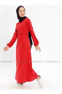 Red - Crew neck - Unlined - Cotton - Dresses - Beha Tesettür(110328327)