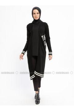 Black - Stripe - Acrylic -- Cardigan - Nefise(110335320)