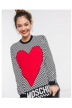 Love Moschino - Maglione a scacchi con cuore in rosso multi(123528054)