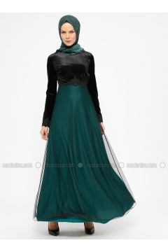 Green - Emerald - Crew neck - Unlined - Muslim Evening Dress - Laruj(110321851)