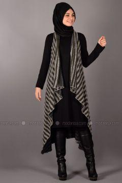 Khaki - Stripe - Unlined - Vest - Henna Elısa(110337752)