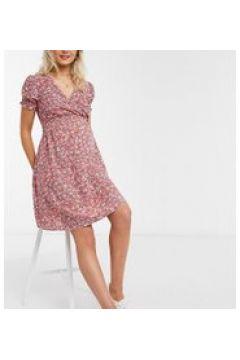 New Look Maternity - Vestito corto con arricciatura in vita rosso a fiori-Nero(120385572)