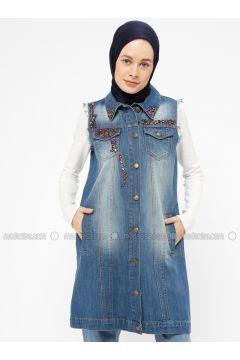 Blue - Navy Blue - Unlined - Point Collar - Cotton - Denim - Vest - Neways(110312947)