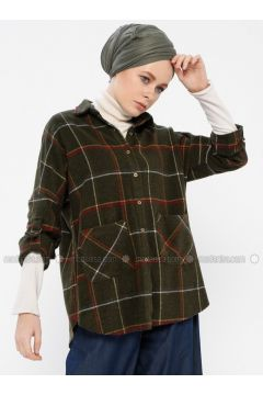 Khaki - Plaid - Point Collar - Blouses - İroni(110338996)