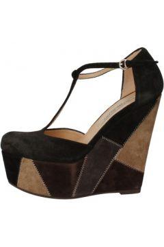 Sandales Gianni Marra talons compensé noir daim gris AK894(98485681)