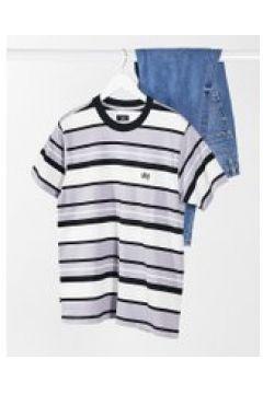 Obey - T-shirt oversize grigia a righe tono su tono con logo piccolo-Grigio(120382424)