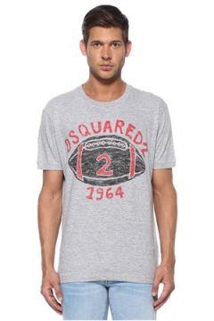 Dsquared2 Erkek Gri Logo Baskılı T-shirt XL EU(119423296)