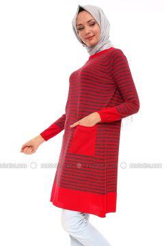 Red - Stripe - Crew neck - Acrylic -- Tunic - Por La Cara(110318367)