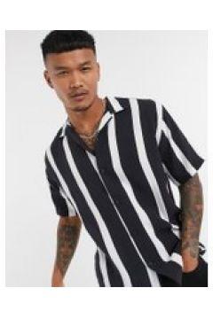Pull&Bear - Camicia a righe verticali nere e bianche-Nero(121235724)