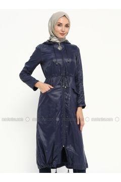 Navy Blue - Unlined - Topcoat - Ginezza(110315294)