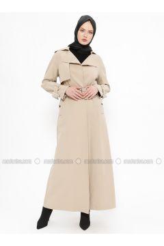 Beige - Unlined - Cotton - Topcoat - Tekbir(110335660)