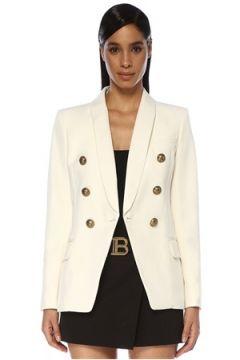 Balmain Kadın Beyaz Şal Yaka Kruvaze Yün Ceket 36 FR(119785550)