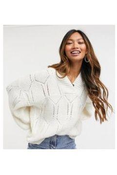 Native Youth - Maglione oversize con scollo a V in maglia testurizzata color crema(123472909)