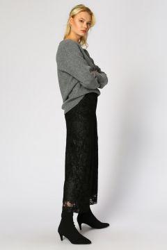Beymen Club Geniş Kesim Dantel Detay Siyah Pantolon(113967137)