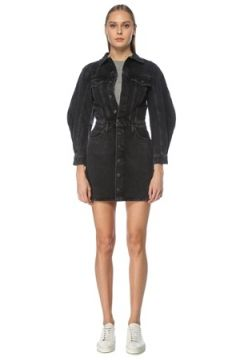 Agolde Kadın Siyah Polo Yaka Mini Denim Elbise 8 US(125116128)