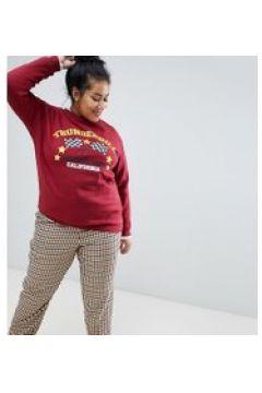 Daisy Street Plus - Lässiges Sweatshirt im Vintage-Look bedruckt - Rot(87105445)